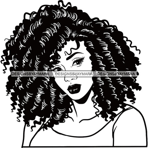 Hair And Face Twist Afro Black Hair Black And White SVG JPG PNG Vector Clipart Cricut Silhouette Cut Cutting
