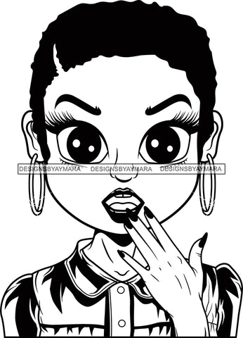 Afro Cute Lili Big Eyes Surprise Face Expression Designs For Commercial And Personal Use Black Girl Woman Nubian Queen Melanin SVG Cutting Files For Silhouette Cricut and More
