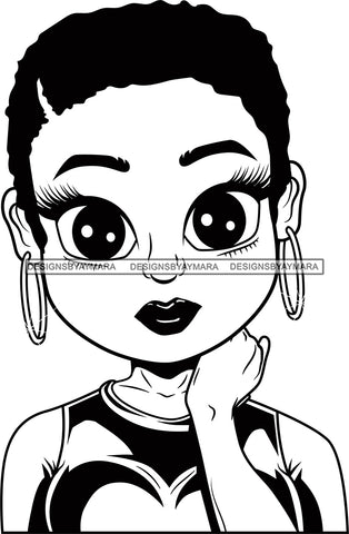 Afro Cute Lili Big Eyes Designs For Commercial And Personal Use Black Girl Woman Nubian Queen Melanin SVG Cutting Files For Silhouette Cricut and More
