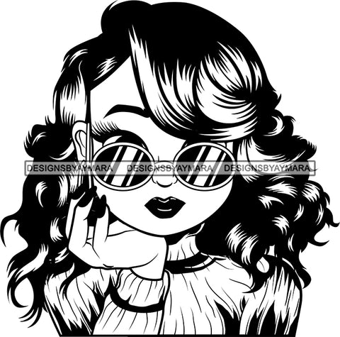 Afro Cute Lili Big Eyes Cool Glasses Designs For Commercial And Personal Use Black Girl Woman Nubian Queen Melanin SVG Cutting Files For Silhouette Cricut and More