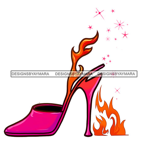 Stepping On Fire Pink High Heels Shoes JPG PNG  Clipart Cricut Silhouette Cut Cutting