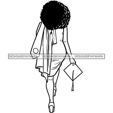 Afro Black Woman Holding Graduation Gown Cap Back View Afro Hairstyle B/W SVG JPG PNG Cutting Files For Silhouette Cricut More