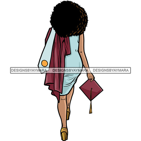 Afro Black Woman Holding Graduation Gown Cap Back View Afro Hairstyle SVG JPG PNG Cutting Files For Silhouette Cricut More