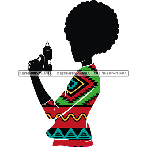 Black Woman Silhouette Kente Print Dress Holding Glue Gun Crafty JPG PNG  Clipart Cricut Silhouette Cut Cutting