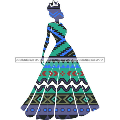 Crowned Queen Silhouette Blue Green Pattern Filled  JPG PNG  Clipart Cricut Silhouette Cut Cutting