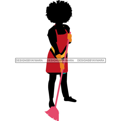 Cleaning Woman Silhouette Red Apron Pattern Filled  JPG PNG  Clipart Cricut Silhouette Cut Cutting