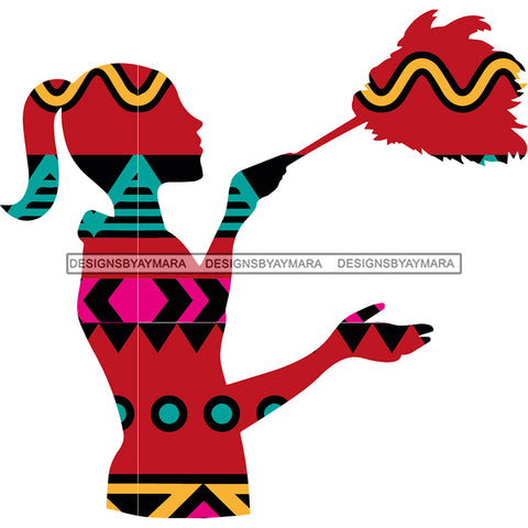 Silhouette Kente Print Woman Cleaning JPG PNG  Clipart Cricut Silhouette Cut Cutting
