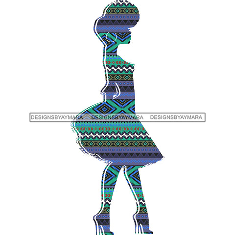 Afro Woman Silhouette Blue Green Pattern Filled  JPG PNG  Clipart Cricut Silhouette Cut Cutting