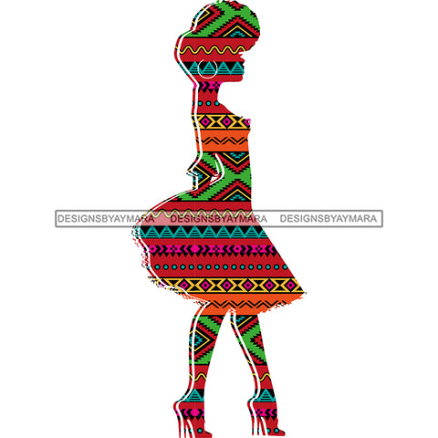 Afro Woman Silhouette  Pattern Filled  JPG PNG  Clipart Cricut Silhouette Cut Cutting