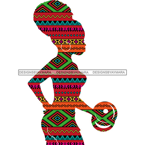 Afro Woman Silhouette Pink Green Pattern Filled  JPG PNG  Clipart Cricut Silhouette Cut Cutting