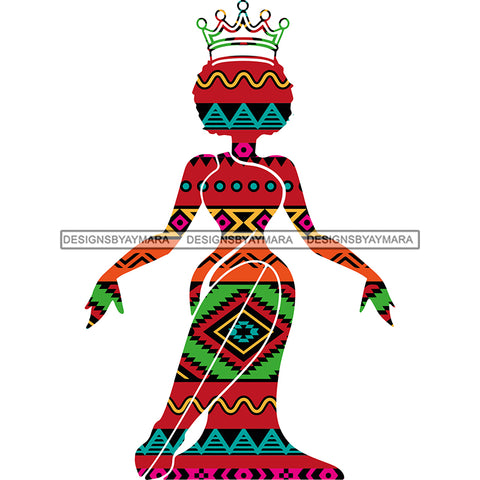 Afro Queen  Silhouette Pink Green Pattern Filled  JPG PNG  Clipart Cricut Silhouette Cut Cutting