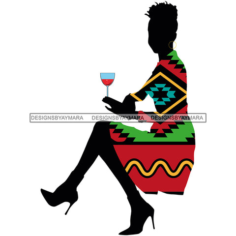 Silhouette Woman Having Wine Pink Green Pattern Filled Dress JPG PNG  Clipart Cricut Silhouette Cut Cutting