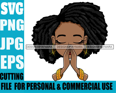 Afro Hairstyle Cute Lili Praying Prayers Pray Designs For Commercial And Personal Use Black Girl Woman Nubian Queen Melanin SVG Cutting Files For Silhouette Cricut and More