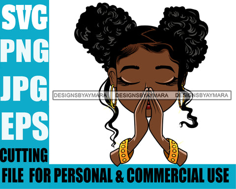 Afro Puff Hairstyle Cute Lili Praying Prayers Pray Designs For Commercial And Personal Use Black Girl Woman Nubian Queen Melanin SVG Cutting Files For Silhouette Cricut and More