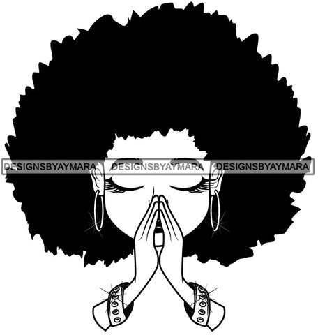 Afro Big Hairstyle Cute Lili Praying God Prayers Pray Faith Designs For Commercial And Personal Use Black Girl Woman Nubian Queen Melanin SVG Cutting Files For Silhouette Cricut and More