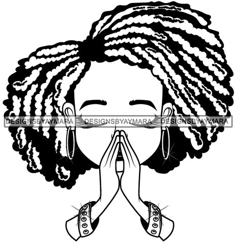 Afro Hairstyle Cute Lili Praying God Prayers Pray Faith Designs For Commercial And Personal Use Black Girl Woman Nubian Queen Melanin SVG Cutting Files For Silhouette Cricut and More