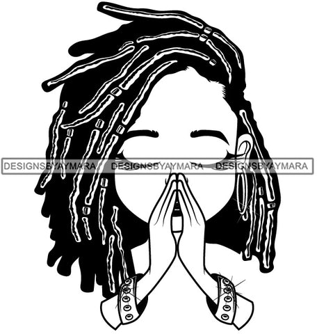 Afro Dreadlocks Hairstyle Cute Lili Praying God Prayers Pray Faith Designs For Commercial And Personal Use Black Girl Woman Nubian Queen Melanin SVG Cutting Files For Silhouette Cricut and More