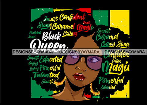 Afro Lola Black Queen Swag Powerful Loving Smart Black Girl Magic Melanin Popping Hipster Girl SVG JPG PNG Layered Cutting Files For Silhouette Cricut and More