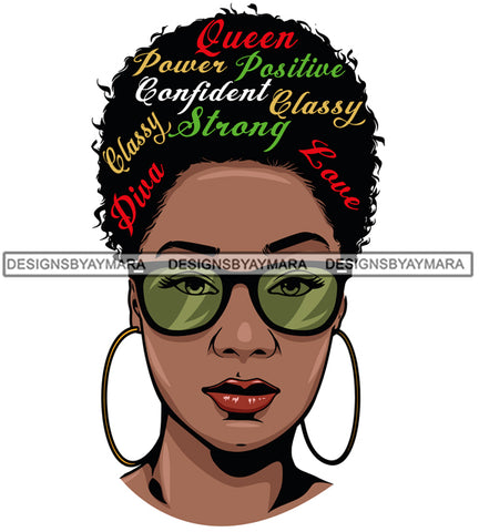 Afro Attractive Black Woman Hoop Earrings  Life Quotes  Queen Power Positive Afro Hair Style SVG Cutting Files For Silhouette Cricut More