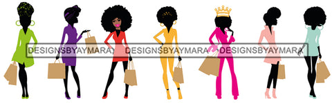 Group Of Black Beautiful Women Shopping Silhouettes Divas Fashion Models Glamour  SVG Cut Files For Silhouette Cricut More
