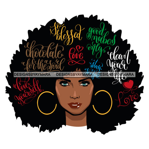 Afro Attractive Black Woman Hoop Earrings  Life Quotes Blessed Loved Good Vibes Blue Eyes Afro Hair Style SVG Cutting Files For Silhouette Cricut More