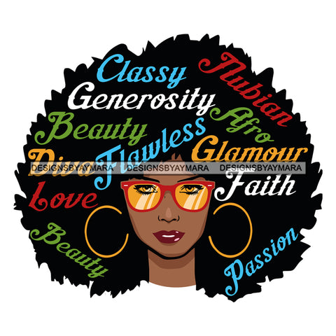 Afro Attractive Black Woman Hoop Earrings  Life Quotes Classy Generosity Beauty Sunglasses Afro Hair Style SVG Cutting Files For Silhouette Cricut More