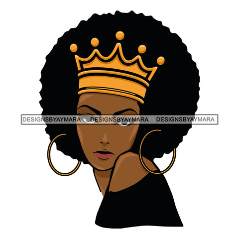 Afro Attractive Black Woman Hoop Earrings Queen Royalty Afro Hair Style SVG Cutting Files For Silhouette Cricut More