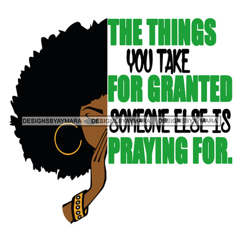 Afro Black Woman Praying Hoop Earrings Half Face Life Quotes Afro Hair Style SVG Cutting Files For Silhouette Cricut More