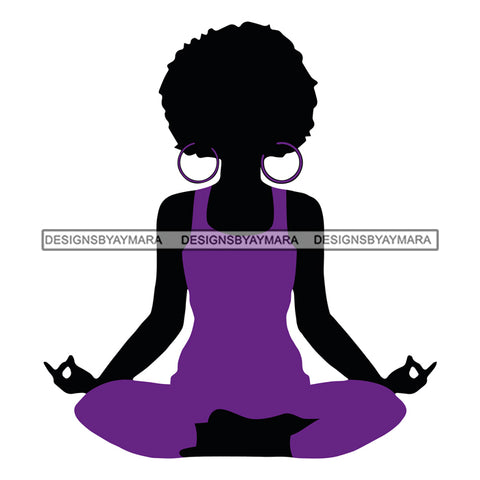 Afro Woman Meditating Yoga Relaxing  Afro Hair Style SVG Cutting Files For Silhouette Cricut More