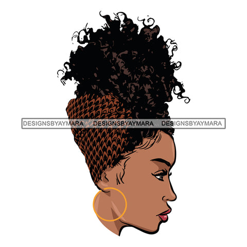 Afro Girl Babe Hoop Earrings Sexy Turban Profile Up Do Hair Style SVG Cutting Files For Silhouette Cricut