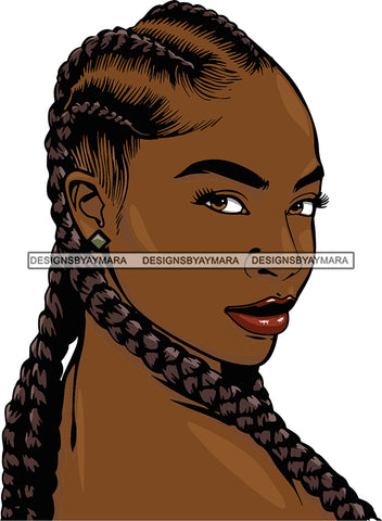 Afro Girl Babe Sexy Black Woman Matching Glasses Bamboo Hoop Earrings Profile Sexy Lips Braids Cornrows Hair Style SVG Cutting Files For Silhouette Cricut More