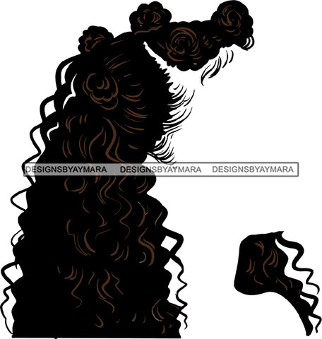 No Face Curly Black Woman Afro Hair  Wavy SVG JPG PNG Vector Clipart Cricut Silhouette Cut Cutting