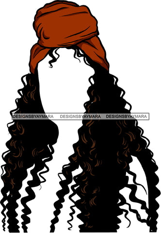 No Face Curly Black Woman Afro Hair Headwrap Turban Long Wavy SVG JPG PNG Vector Clipart Cricut Silhouette Cut Cutting