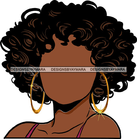 No Face Curly Black Woman Afro Hair  Wavy Hoops SVG JPG PNG Vector Clipart Cricut Silhouette Cut Cutting