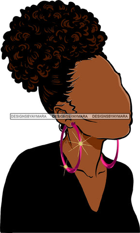 No Face Curly Black Woman Afro Hair  Side Curls Black Top SVG JPG PNG Vector Clipart Cricut Silhouette Cut Cutting