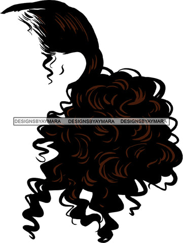 No Face Curly Black Woman Afro Hair  Side Curls  SVG JPG PNG Vector Clipart Cricut Silhouette Cut Cutting