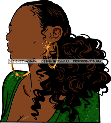 No Face Curly Black Woman Afro Hair  Side Curls Green Top SVG JPG PNG Vector Clipart Cricut Silhouette Cut Cutting