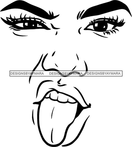 Face Outline Tongue Out  SVG JPG PNG Vector Clipart Cricut Silhouette Cut Cutting