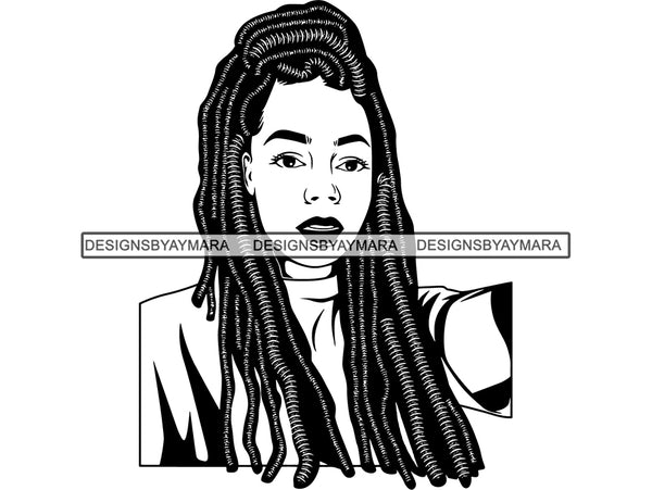 Afro Woman SVG Braids Dreads Hairstyle Nubian Melanin Black Queen African American Ethnicity .JPG .EPS .PNG Vector Clipart Cricut Circuit Cut Cutting