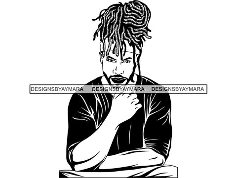 Afro Man Rasta Dreads Hairstyle Black Male Men SVG .JPG .EPS .PNG Vector Clipart Cricut Circuit Cut Cutting