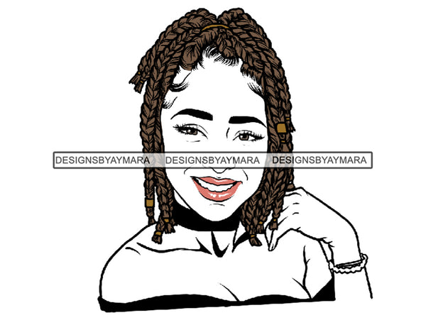 Afro Woman SVG Braids Dreads Hairstyle Fabulous Melanin Nubian African American Ethnicity Queen Diva Classy Lady .SVG .EPS.PNG. Vector Clipart