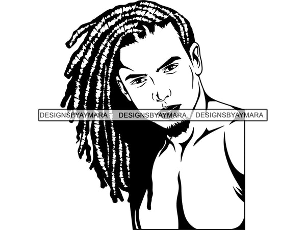 Rasta Man Dreadlocks Hairstyle Handsome African American Haircut Barber Hairdresser Style Mustache Retro Salon Grooming .SVG .EPS .PNG Vector Clipart Digital Download Circuit Cut Cutting