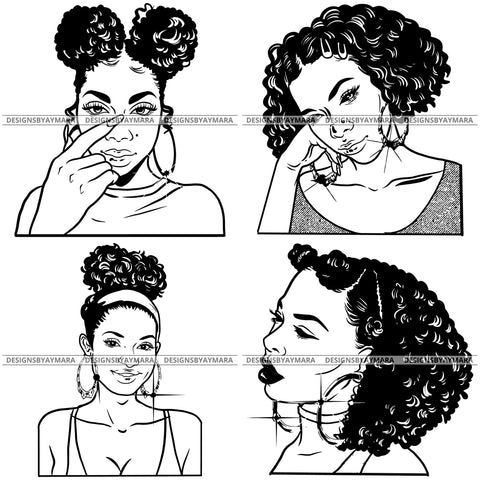 Free Bundle Afro Beautiful Black Woman Bamboo Earrings Queen Boss Lady Nubian Melanin Popping  SVG Cutting Files For Silhouette Cricut and More