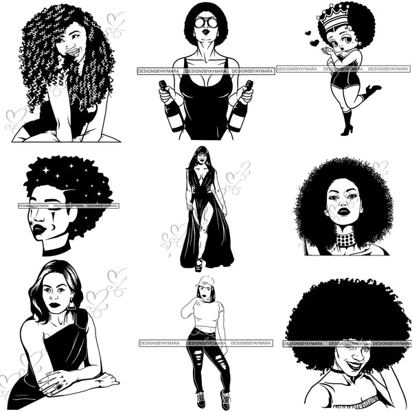 Free Bundle 9 Afro Beautiful Woman SVG Cutting Files For Silhouette and Cricut