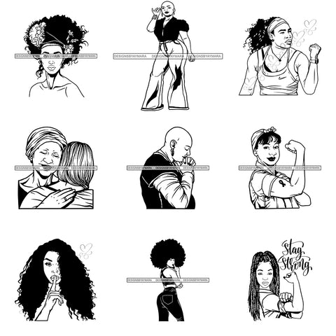 Super Special Bundle Afro Woman SVG Cutting Files For Cricut and Silhouette