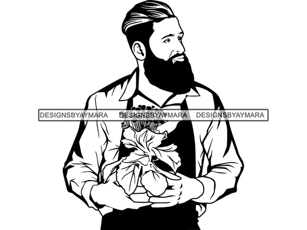 Gardener Garden Man Flower Plant Florist Shop Beard Stud Uniform Attire Store Attendant Plant Pot .SVG .JPG .EPS .PNG Vector Clipart Cricut Cutting Cut