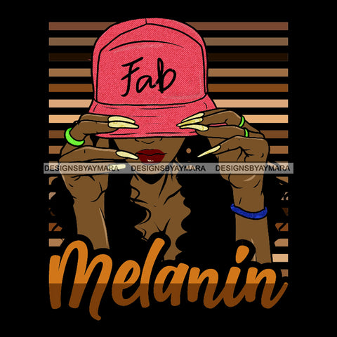 Melanin Woman Wearing Pink Hat Fab SVG JPG PNG Vector Clipart Cricut Silhouette Cut Cutting