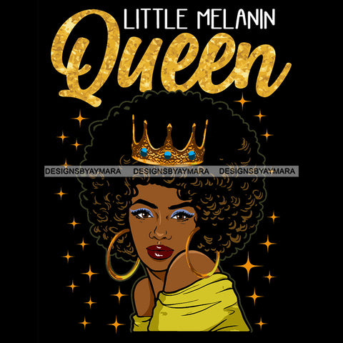 Melanin Queen With Afro Wearing Crown SVG JPG PNG Vector Clipart Cricut Silhouette Cut Cutting