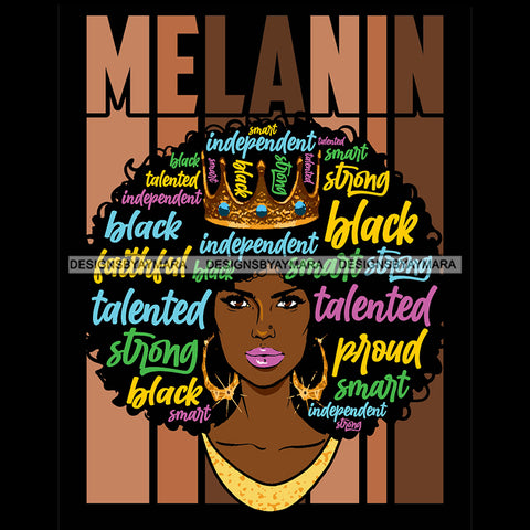 Melanin Woman With Words In Hair Independent SVG JPG PNG Vector Clipart Cricut Silhouette Cut Cutting