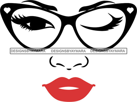 Afro Girl Babe Sexy Glasses Lips Wink SVG Cutting Files For Silhouette Cricut